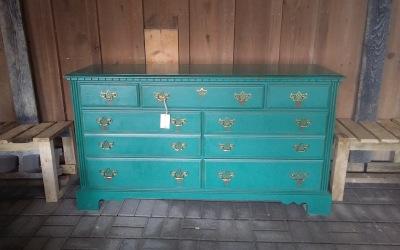 Green distressed drawer