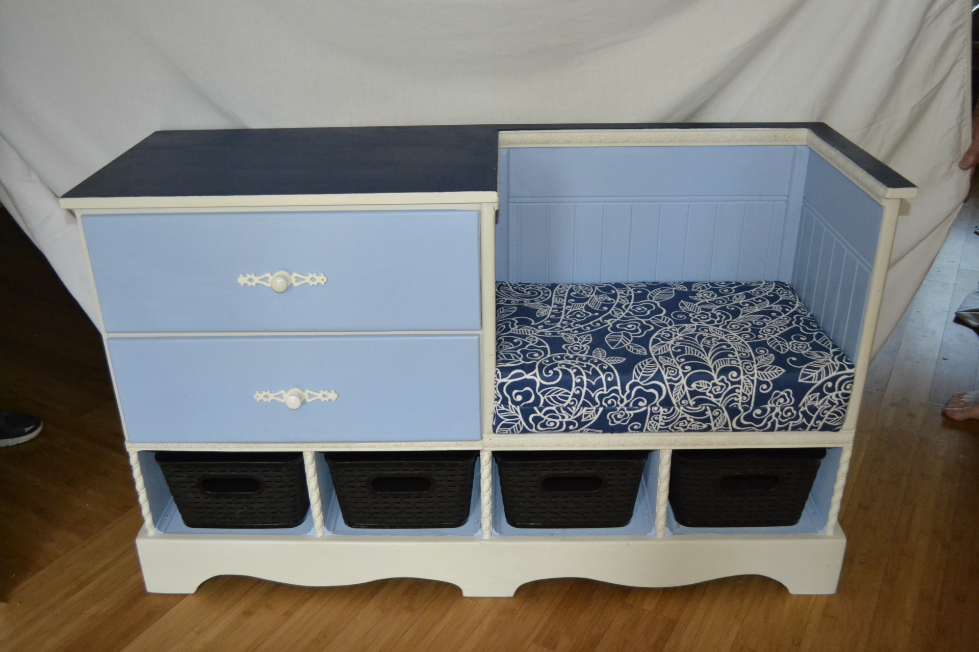 Multipurpose storage dresser with seat