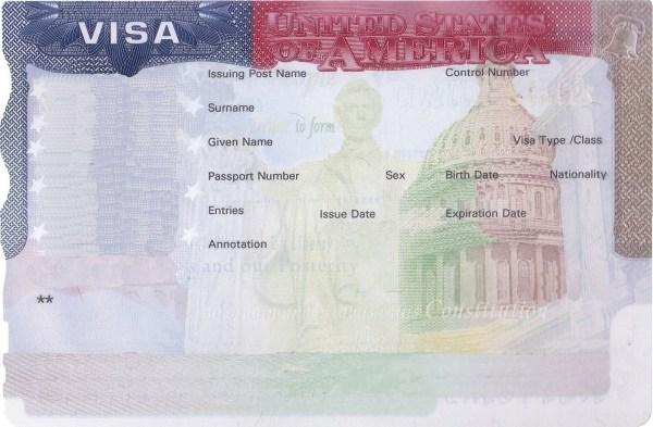 USA blank visa