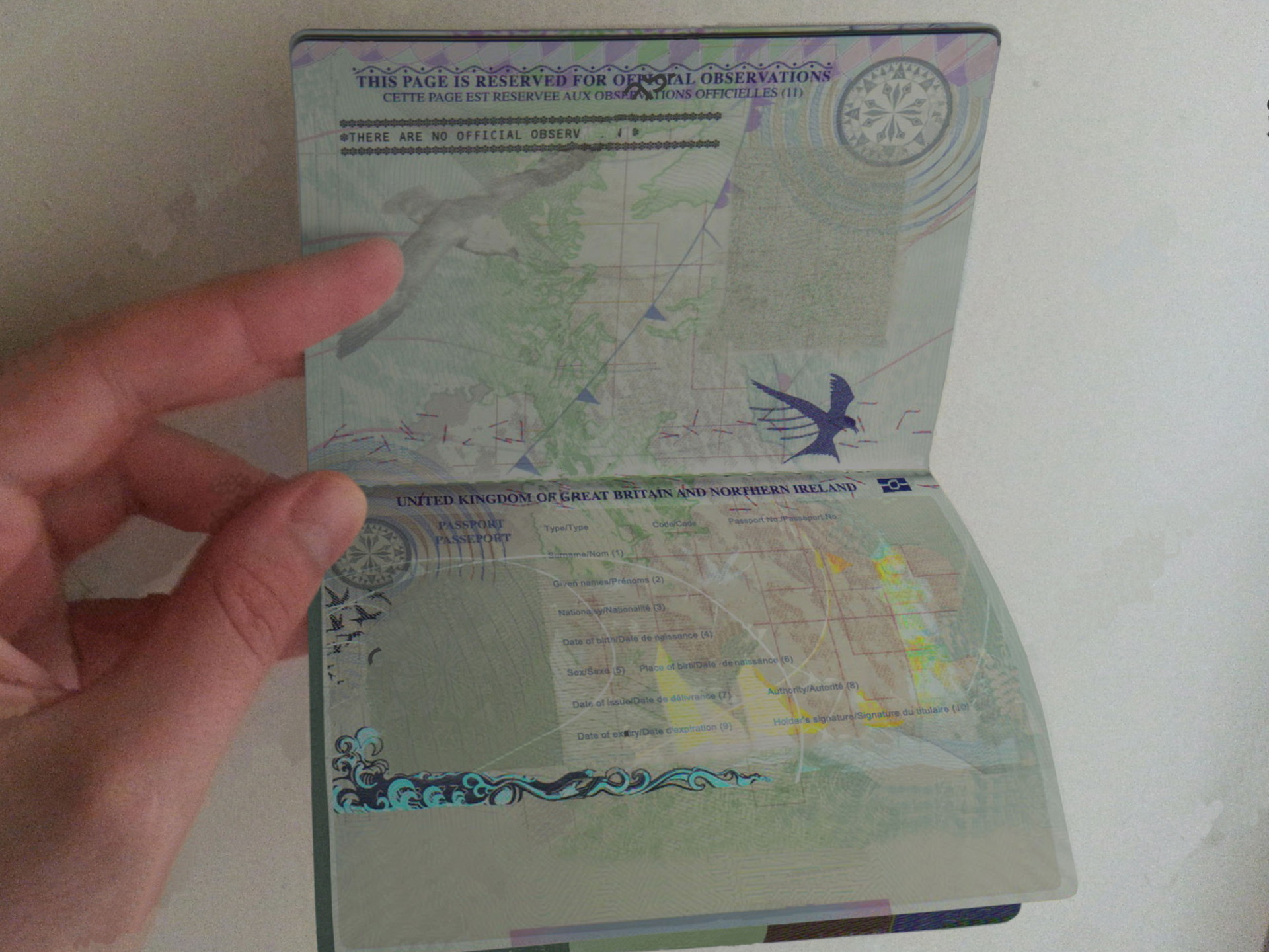 UK blank passport