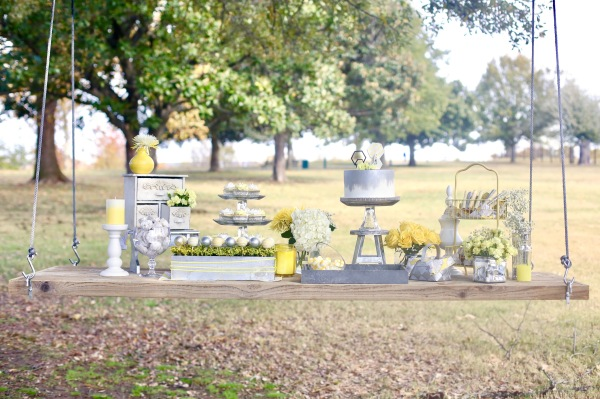 hanging outdoor yellow and silver sweet table