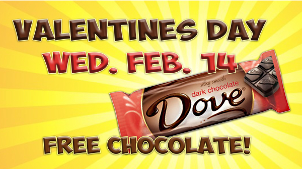 Free chocolate on Valentines Day!