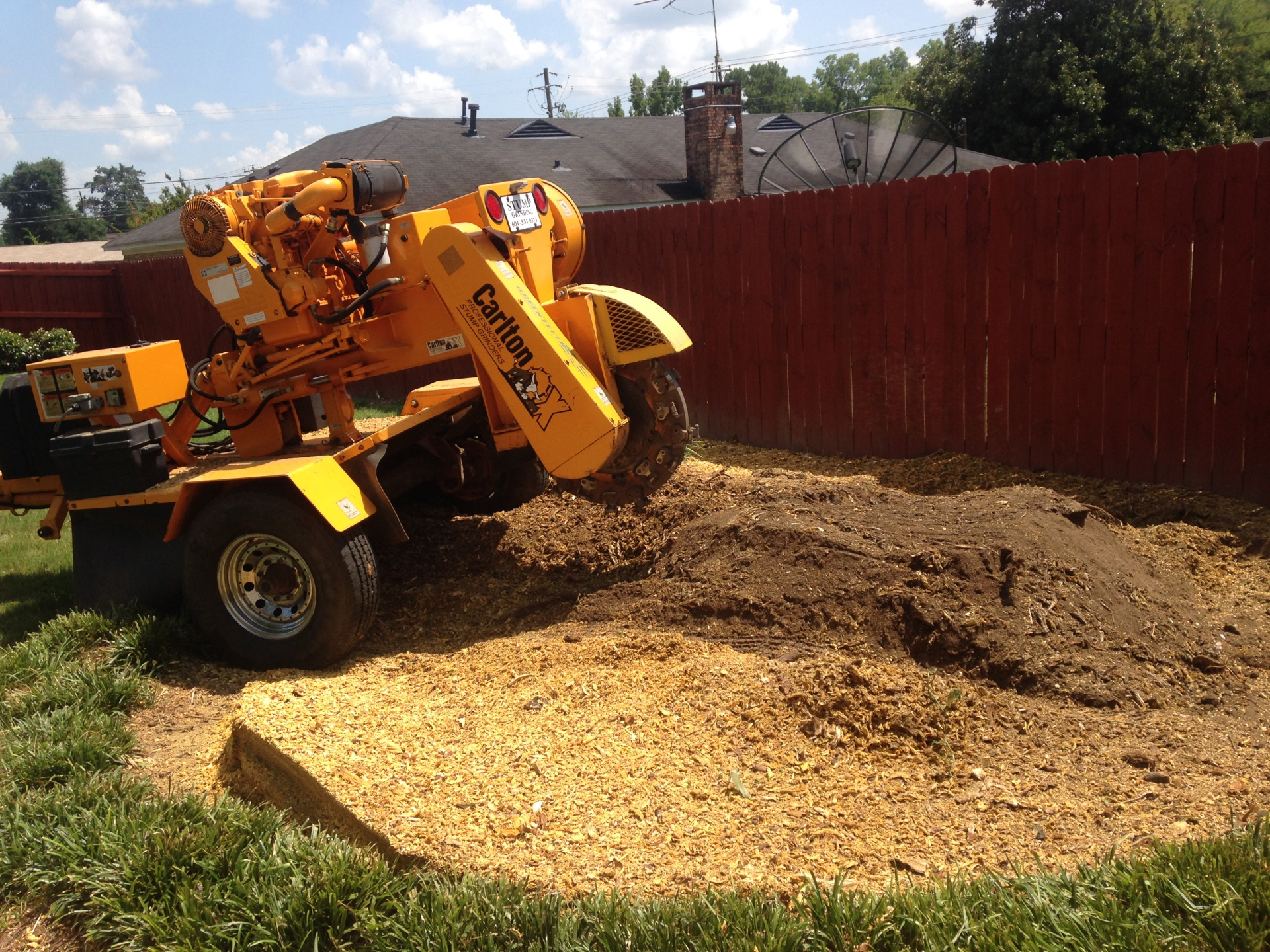 Stump Grinding Shavings from Stump in Montgomery
