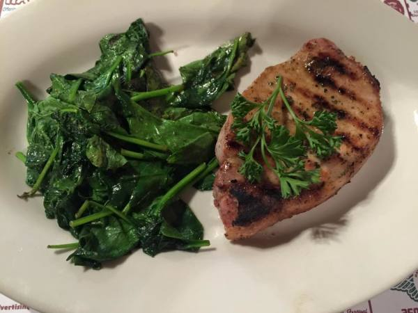 Ranch Glazed Pork Chop with Sauteed Spinach