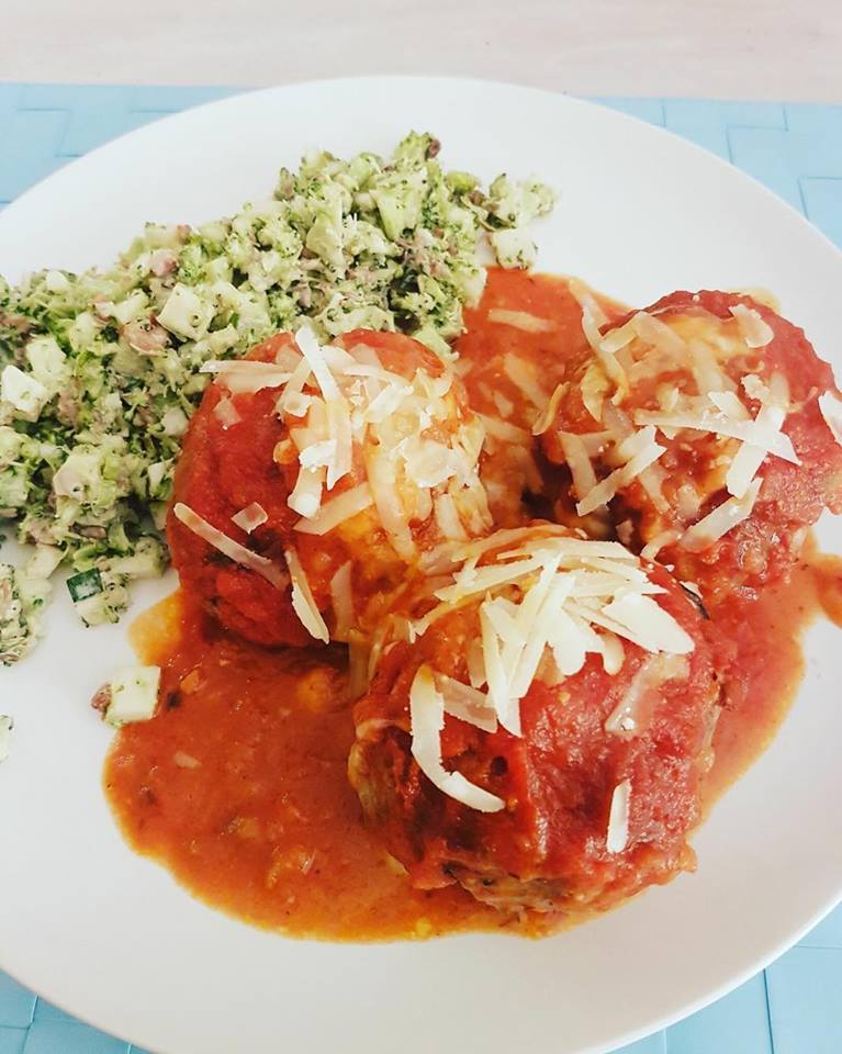Mozzarella Stuffed Italian Meat Balls with Bacon and Broccoli Salad