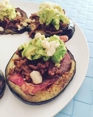 Ground Beef, Egg Plant, Bacon and Avocado Stack