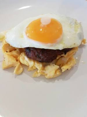 Homemade Burger with Eggs 2 Ways