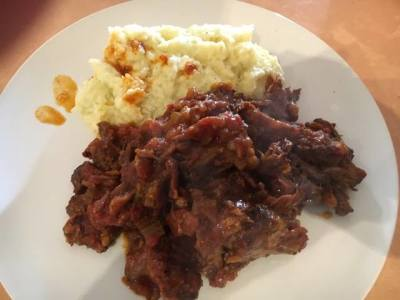 Slow Cooked Ox Tails with Cheesy Cauliflower Mash