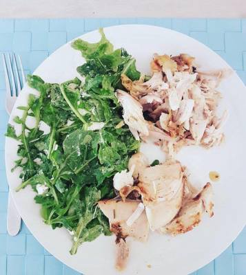 Simple Chicken with Wild Rocket and Goat Cheese Salad