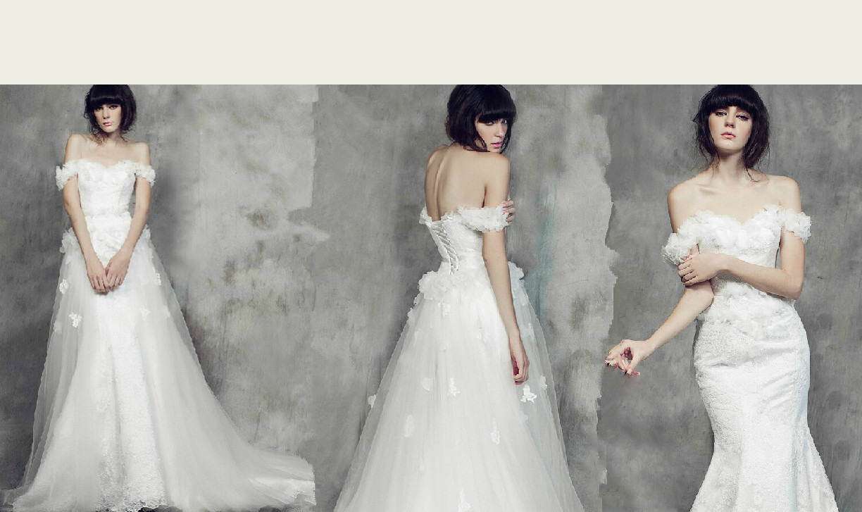 model wearing off-the shoulder glamorous wedding dress