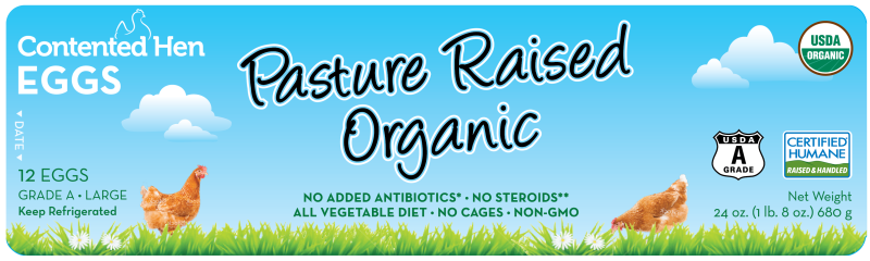Contented Hen Certified Humane Pasture Raised Organic Eggs