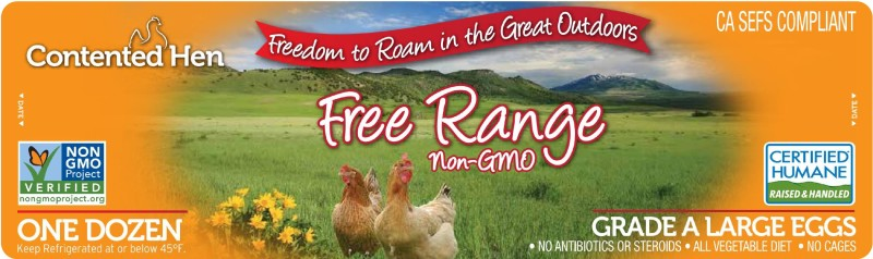 Contented Hen Certified Humane Free Range Project Verified NON-GMO Eggs
