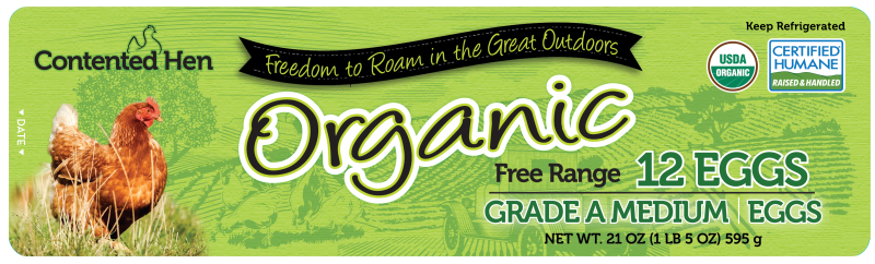 Contented Hen Certified Humane Medium Organic Free Range Eggs