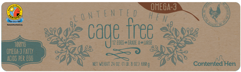 Contented Hen American Humane Certified Omega 3 Enriched Cage Free Eggs