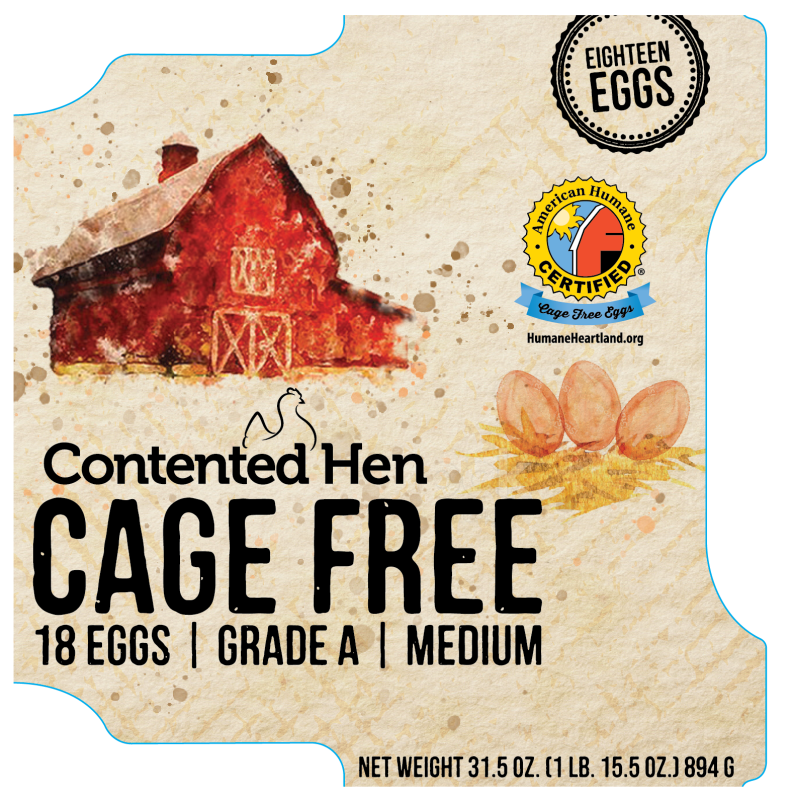 Contented Hen American Humane Certified 18 Pack Cage Free Medium Eggs