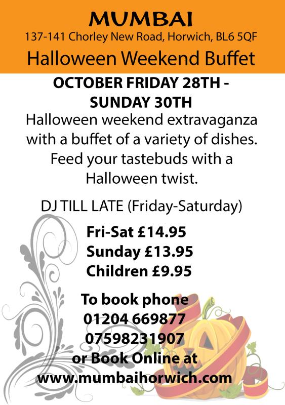Halloween, Mumbai, Horwich, Bolton, Wigan, Indian, 01204669877, mumbai indian, curry, hot, spicy
