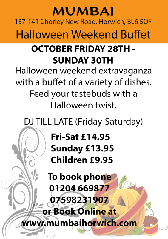 Halloween, Mumbai, Horwich, Bolton, Wigan, Indian, 01204669877, mumbai indian, curry, hot, spicy