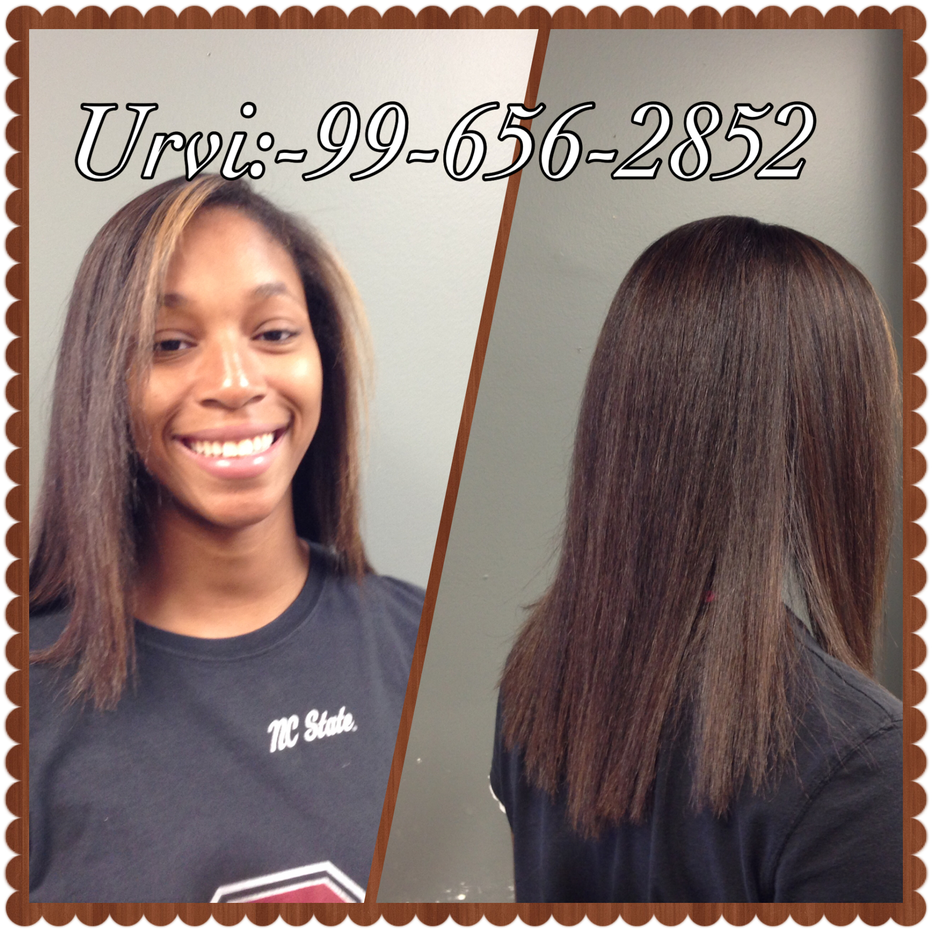 Hair cut and thermal straightening iron