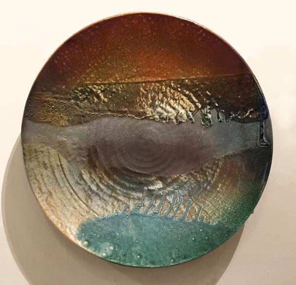 Wall Platter 160 Raku Jeff Chang SOLD