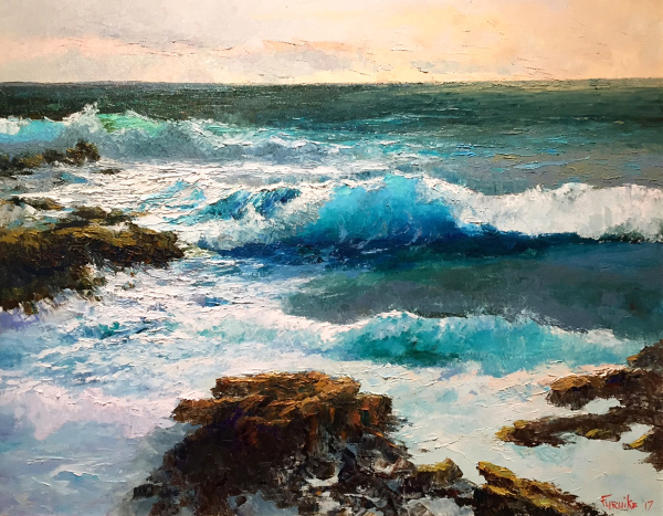 Tides at Dawn Sandy Beach Ed Furuike SOLD