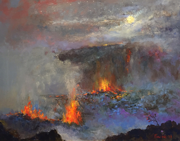Kilauea by Moonlight Ed Furuike SOLD