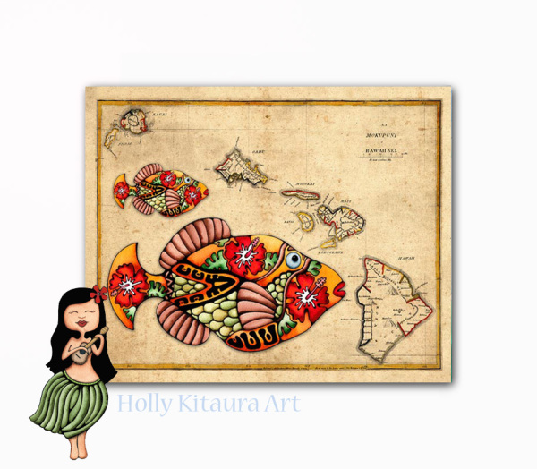 Hawaiian Islands Map Holly K giclee