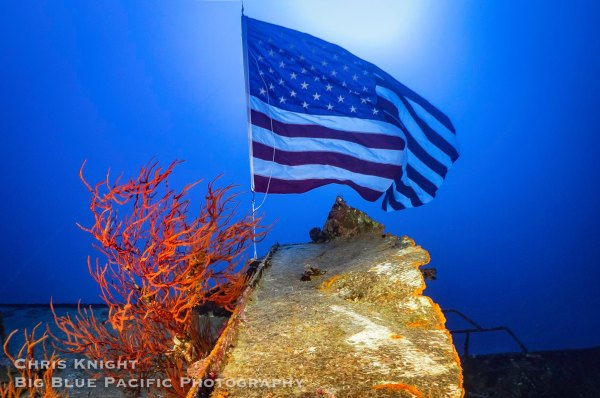 US Flag on FV Friendship Wreck Chris Knight