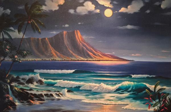 Moonlight over Diamond Head Giclee Lance Fairly