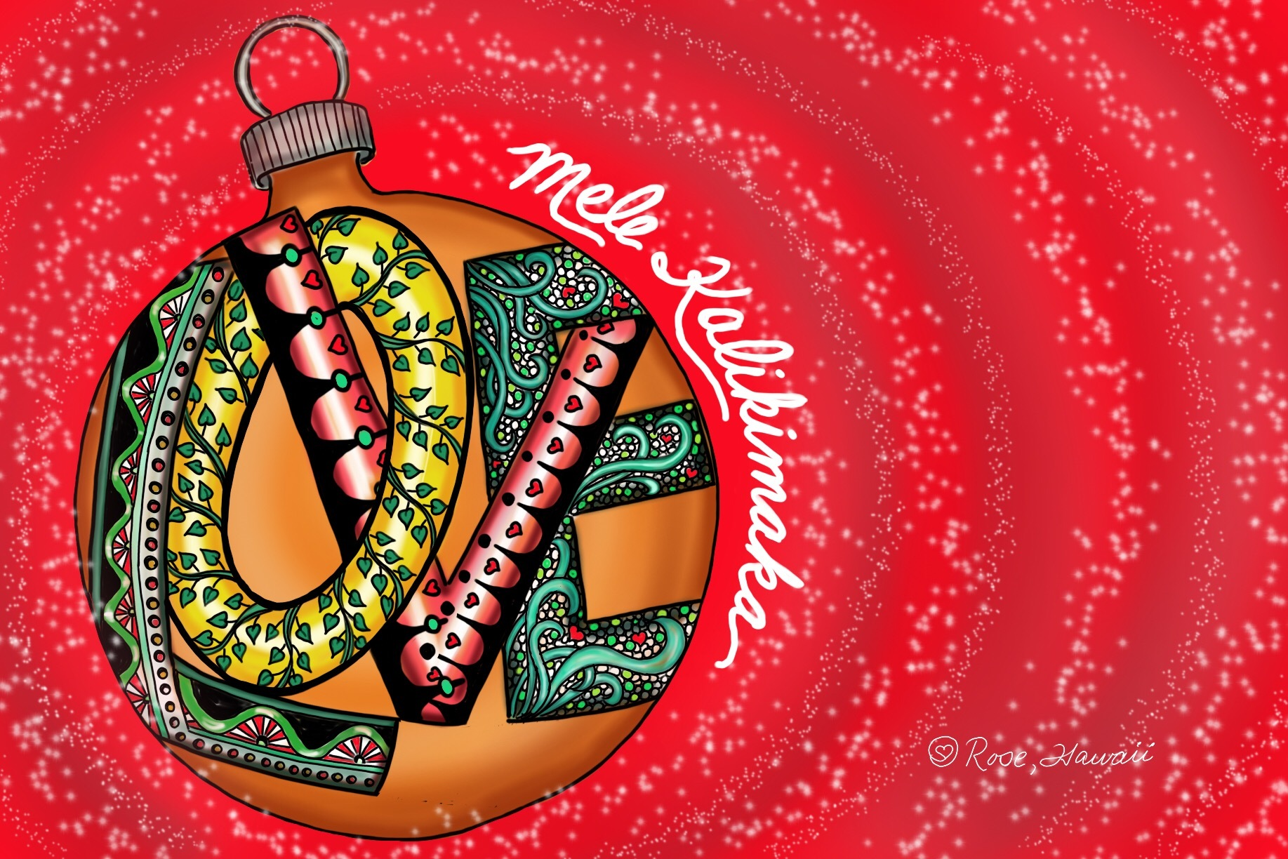 Zentangle Inspired Mele Kalikimaka Love Ornament