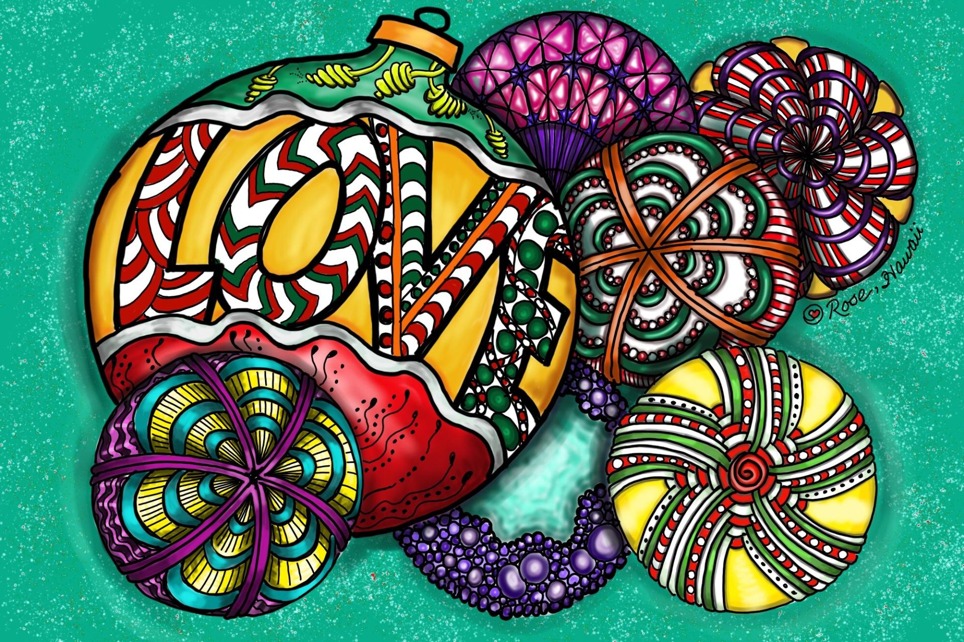 Zentangle Inspired Love Ornaments