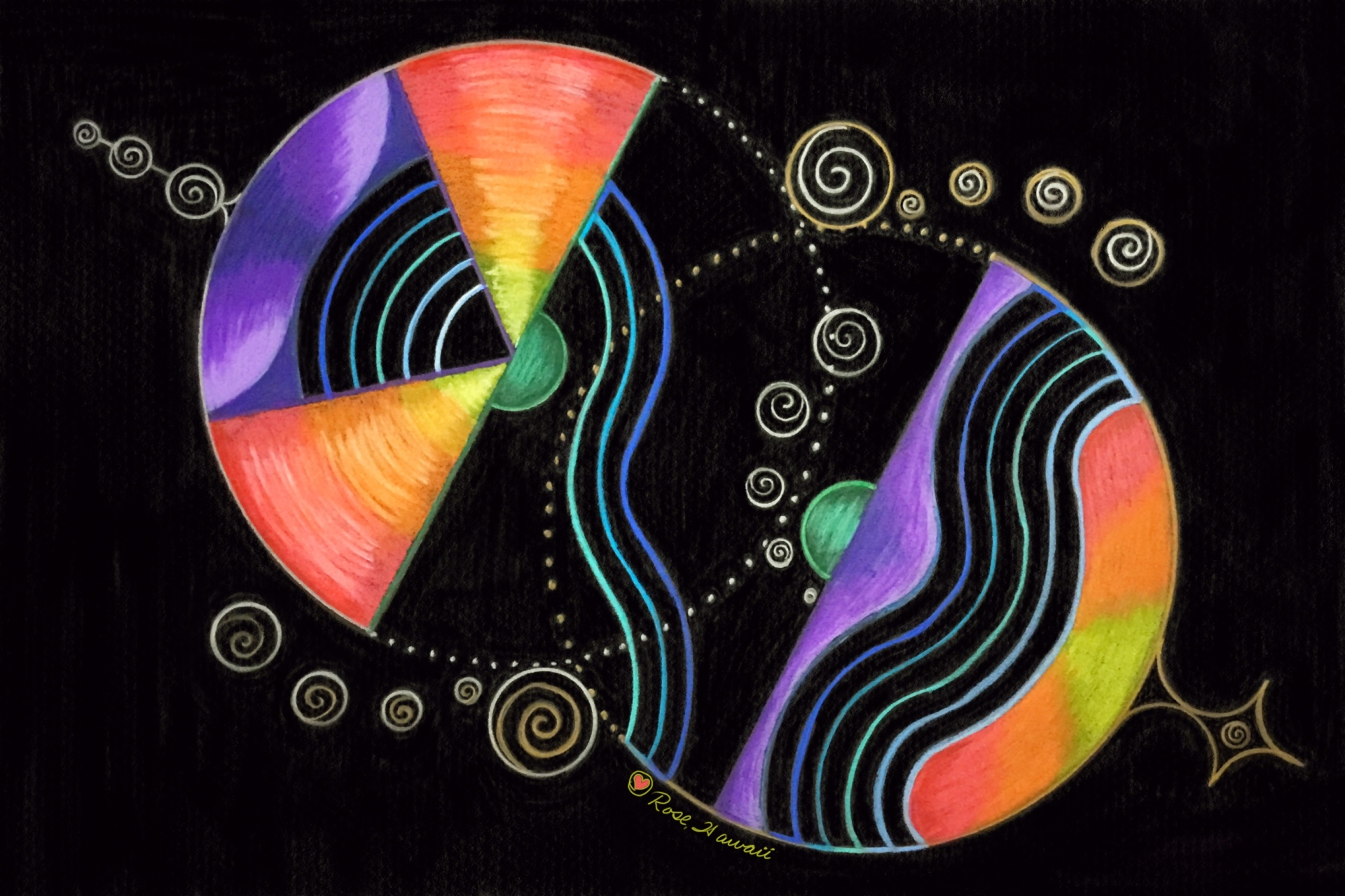 Intuitive Female and Male energies on black