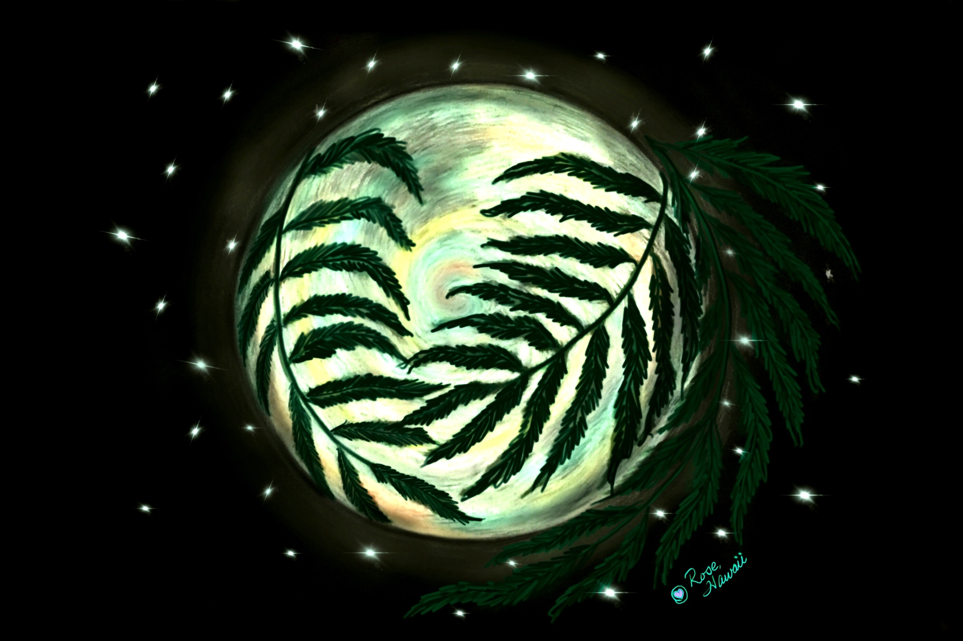 Full moon through ferns on black
