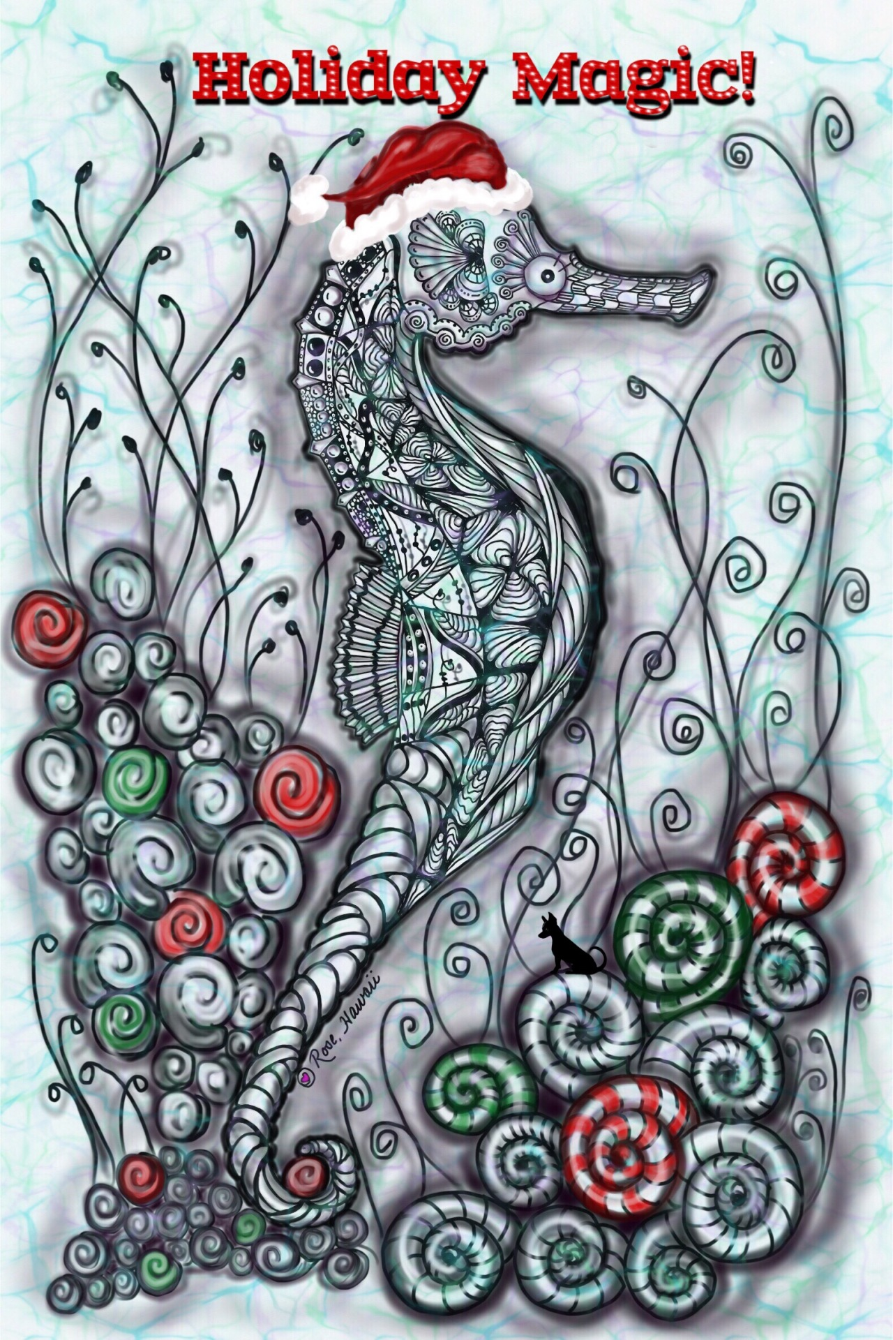 Zentangle Seahorse Holiday Magic!