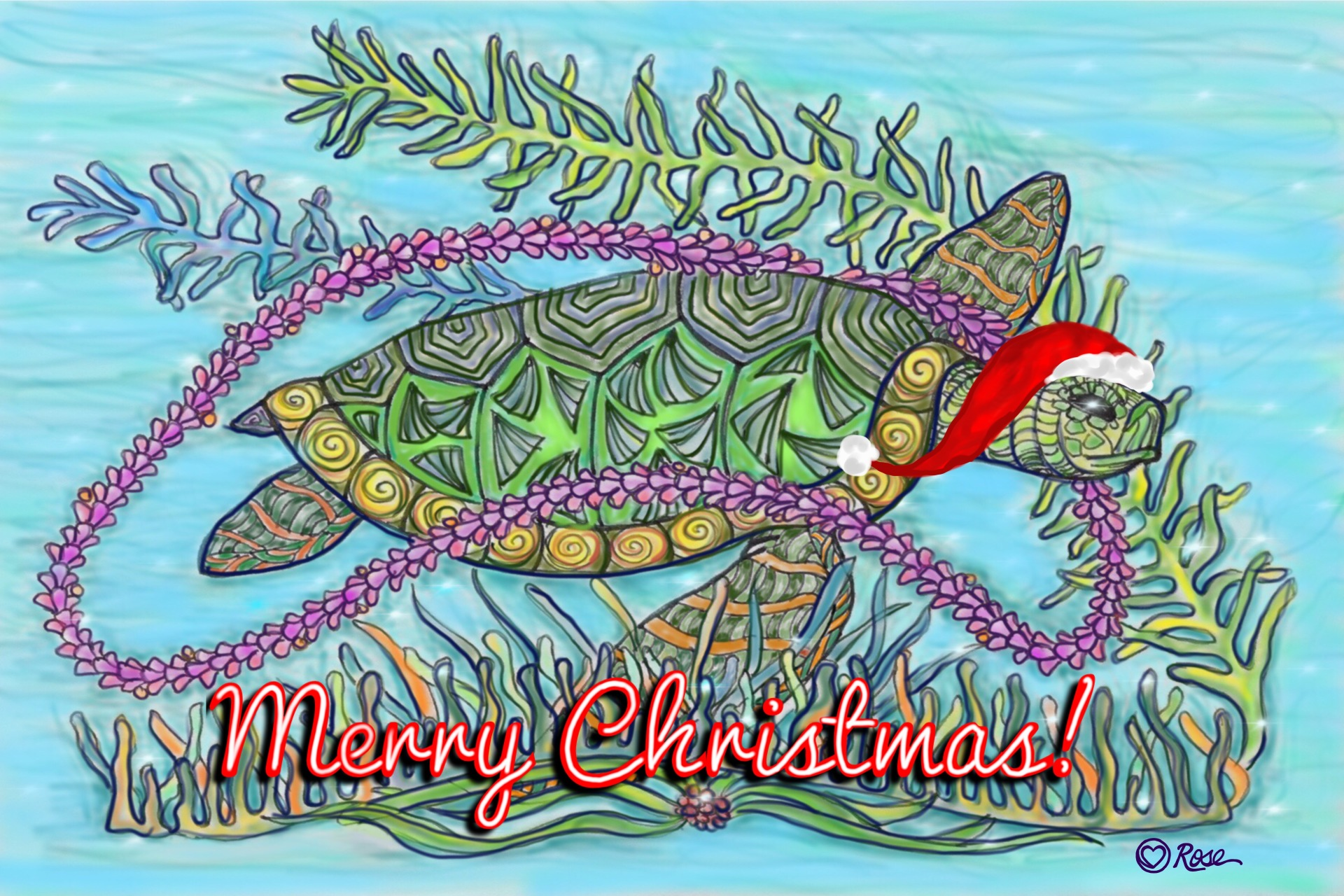 Merry Christmas Zentangle Honu