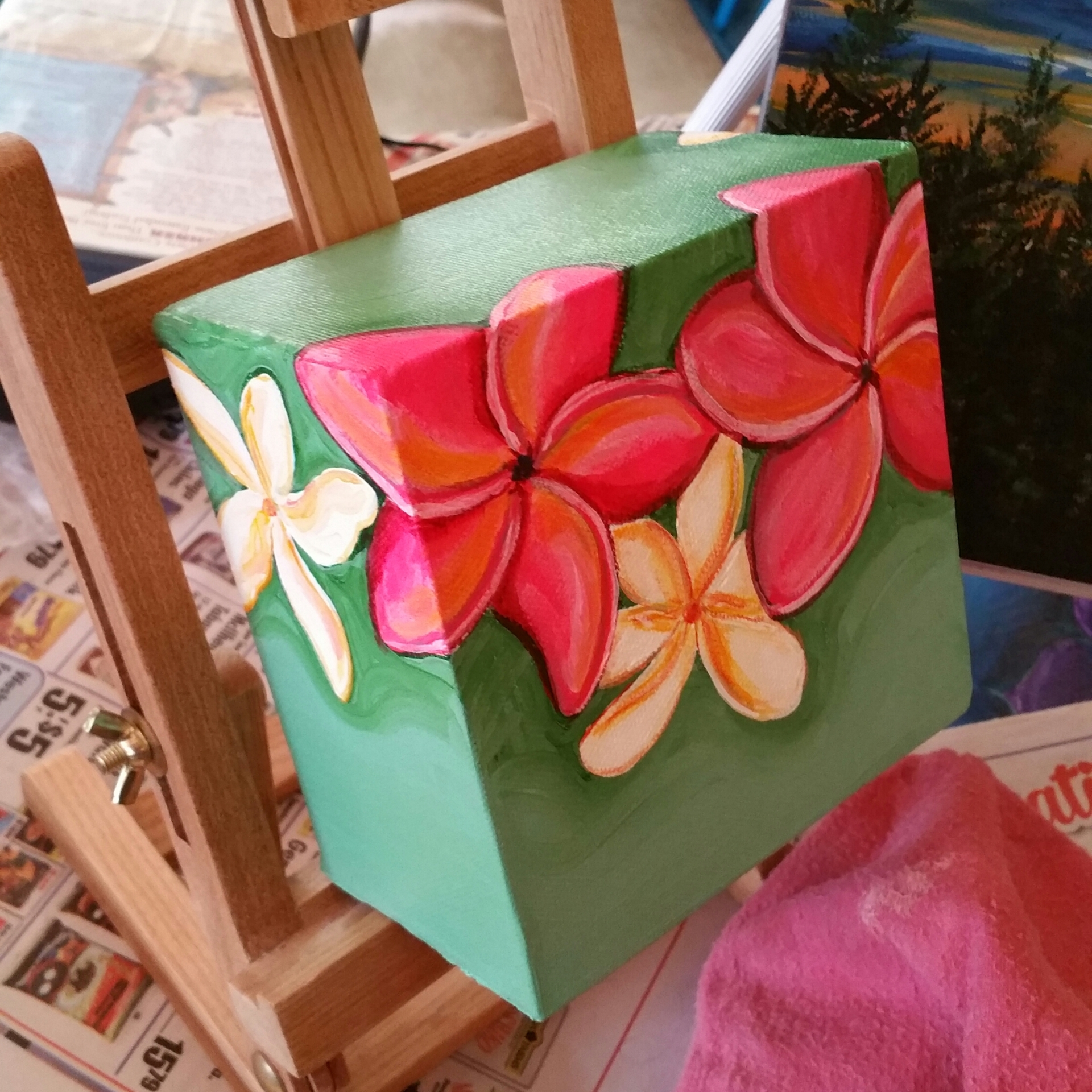 "Plumeria 6""x6""x4"" box canvas"