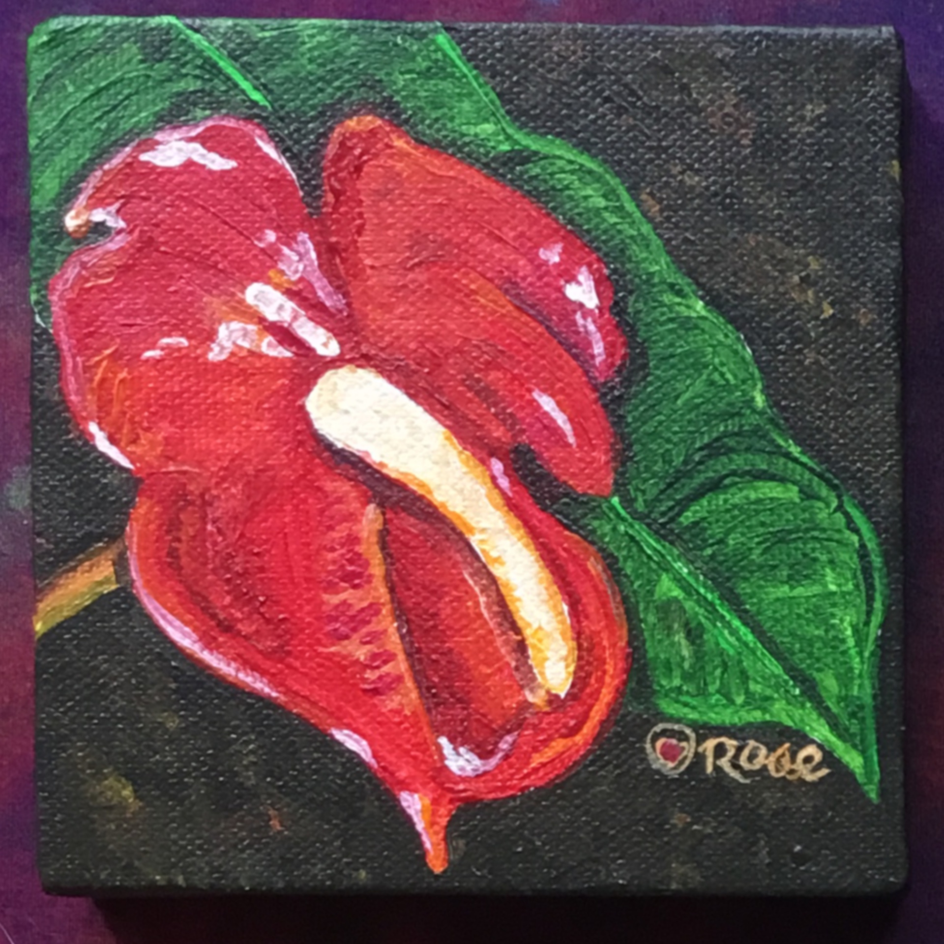 """Red Anthurium 4""""x4"""" canvas"""