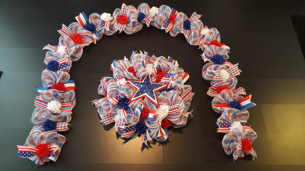 Patriotic Garland and Wreath