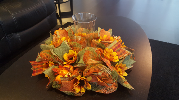 Fall Centerpiece Org/Grn/Brwn