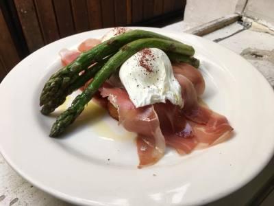 Prosciutto & Asparagus Hashstack
