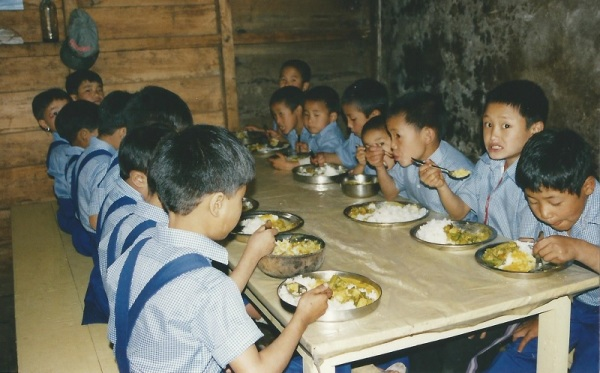 2003: Meals provided at Sikkim Himalayan Academy