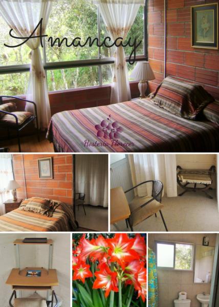 Room # 4 AMANCAY: Habitación matrimonial con vista a la montaña y baño privado.