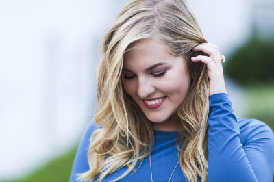 senior girl wearing blue dress in oklahoma city oklahoma