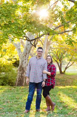 couple posing for camera at will rogers park in oklahoma city oklahoma