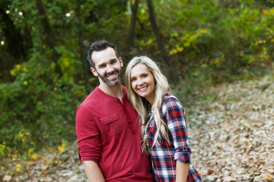 couple posing for camera at fink park in edmond oklahoma