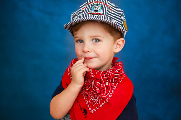 little boy wearing thomas the train hat in edmond oklahoma