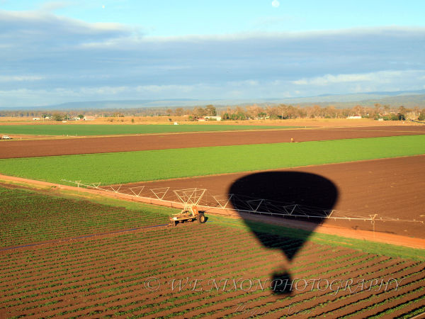 balloon, farmland, silhouette, landscape, photography