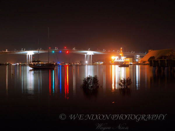 gateway bridge, reflections, long exposure, photography, landscape, night