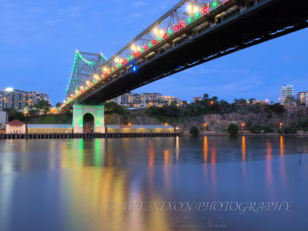 bridge, reflections, christmas, river, park, long exposure, landscape, photography