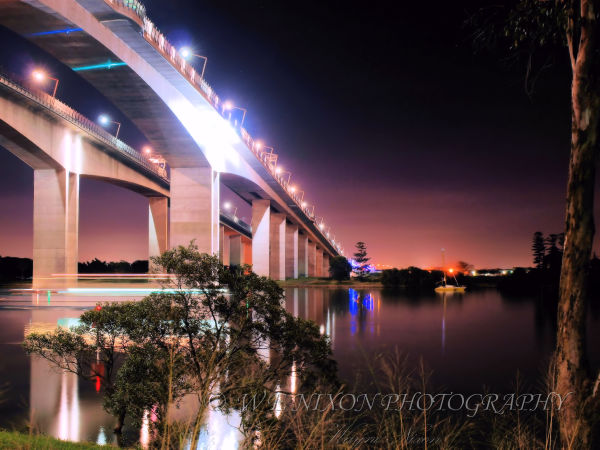 bridge, brisbane river, reflections, water, gateway bridge, long exposure, photography, landscape