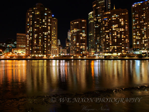 city lights, brisbane, reflections, landscapes, long exposure, river, photography